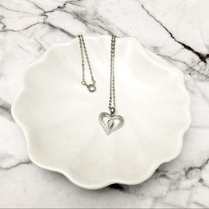 Sweet Heart Clear Leaf Drop Silver Necklace